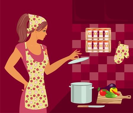 fartuch: gospodyni w kuchni