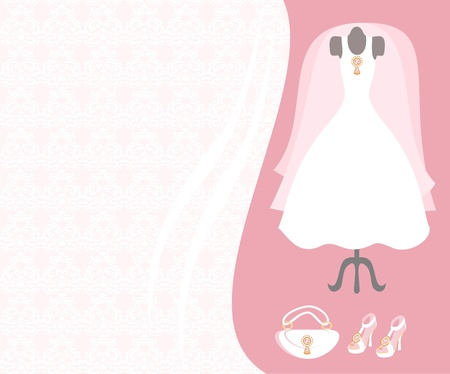 Dummy with wedding dress and accessories Vector