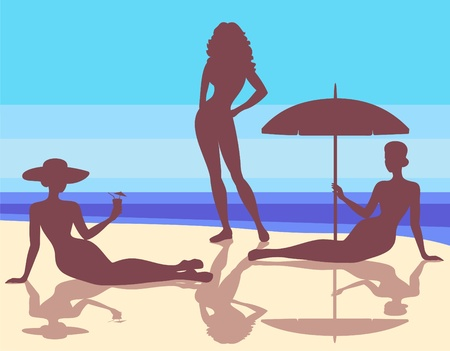sexy umbrella: silhouettes of girls on the beach Illustration