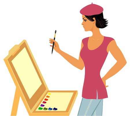 paint box: painter with   easel