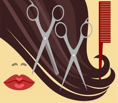peigne et ciseaux: Coupe de cheveux Illustration