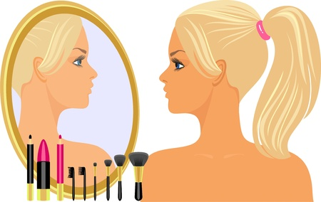 girl before a mirror Stock Vector - 9718266