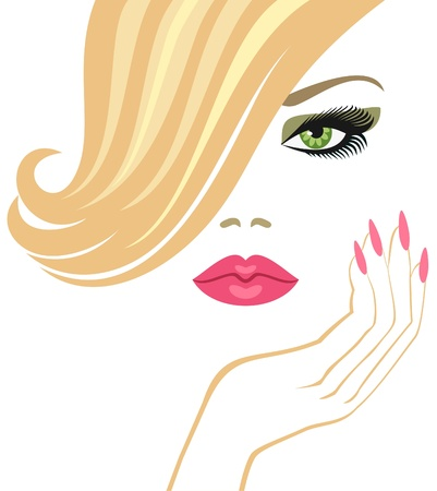 finger to lips: glamour  blonde    Illustration