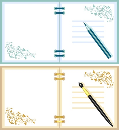 notebook and pen Stock Vector - 9721510