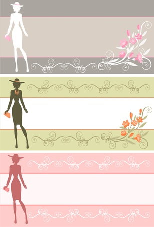 banners with the silhouette of a lady in a hat