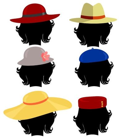 straw hat: silhouette of the girls head in different hats