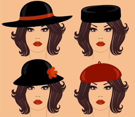 dark hair: una chica con cabello oscuro en diferentes sombreros Vectores