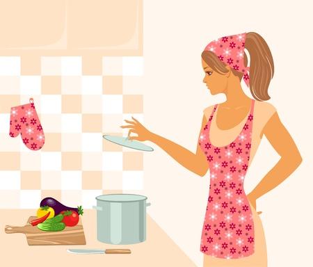 huisvrouw in de keuken