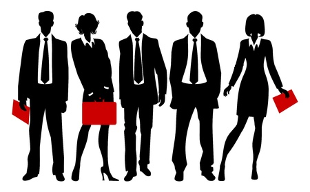 business woman legs: silhouettes of business people