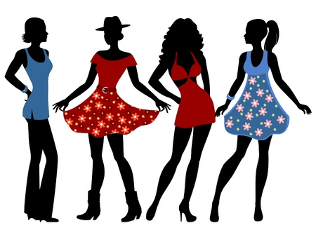 silhouettes of the girls in summer clothes Vector