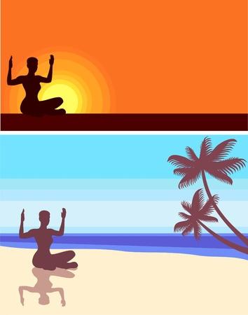 yoga on the beach Vector
