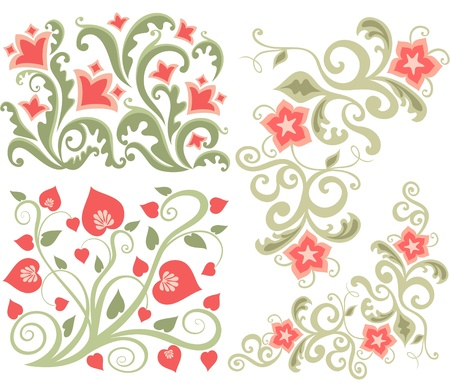 Set of Abstract floral design for book and postcard