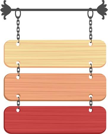 pesta�as: cartel de madera Vectores
