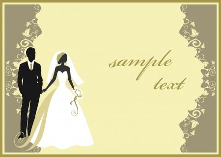 Uitnodigingskaarten met de bruid in een sluier Vector Illustratie