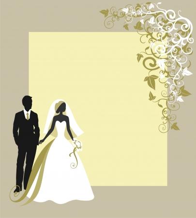 Tarjetas de la invitación con la novia en un velo