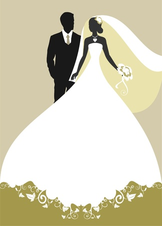 Invitation cards with the bride in a veil      Vector