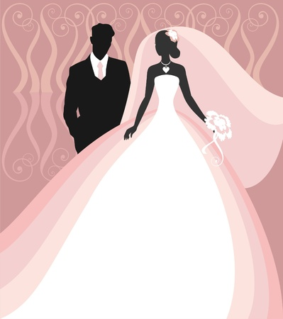 Invitation cards with the bride in a veil