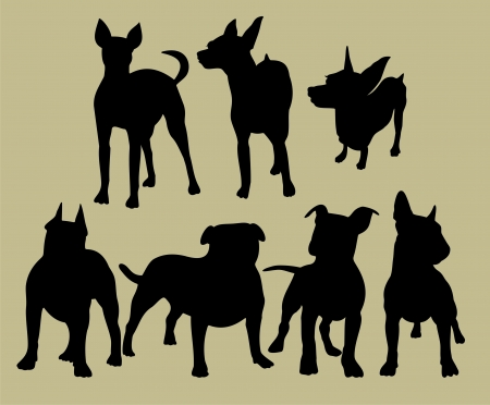 silhouette of the dogs Vectores