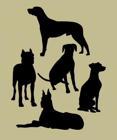 silhouette of the dogs Vector