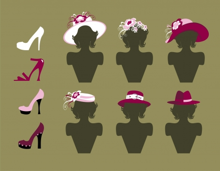 shoes and hats Vector