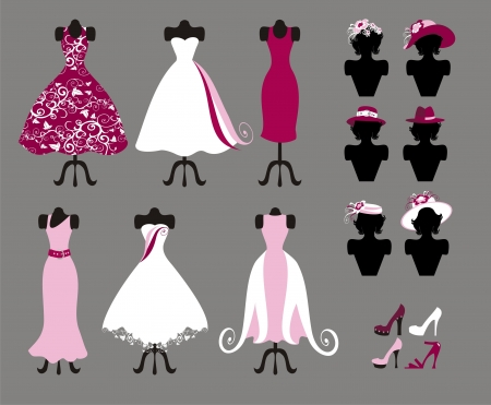 dresses , shoes and hats Vectores