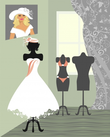 vintage clothing: wedding salon Illustration
