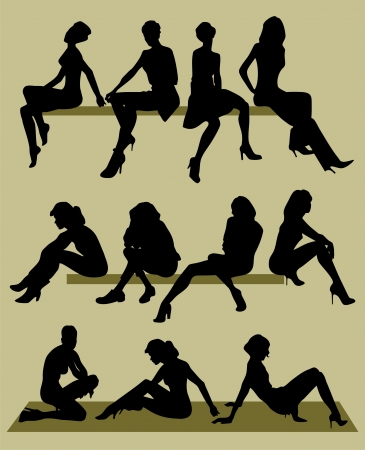 silhouette of sitting models Vector