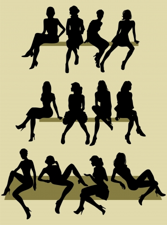 silhouette of sitting models Vectores