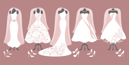 collection of wedding dress Vector