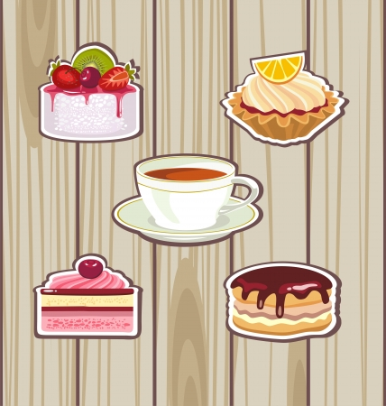 tea and cakes Vector