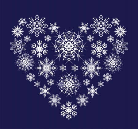 heart from snowflakes Vector