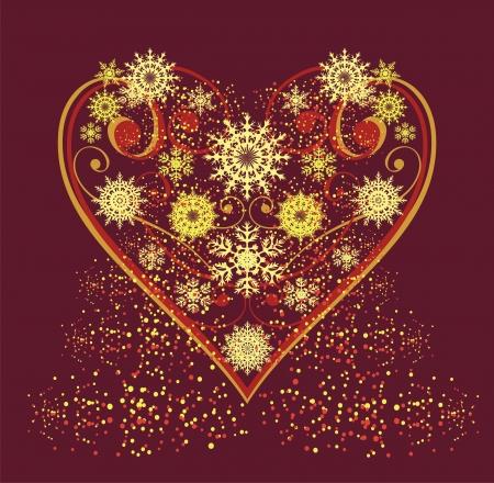 xmas decoration: heart from snowflakes