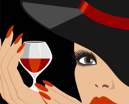 lady in red: lady in hat with red wine
