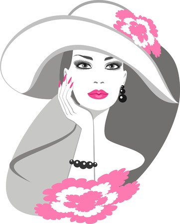 manicure pink: lady in hat Illustration