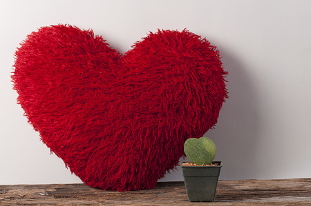 day bed: Fluffy soft red heart. Pillow on wood board. Stock Photo