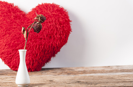 counterpane: Dry red roses and Fluffy soft red heart. Pillow on wood board. Stock Photo