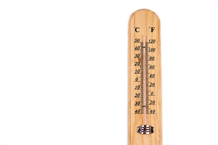 hotter: Wooden thermometer on white background