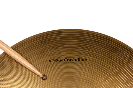 cymbal: cymbal and drumstick on white background.