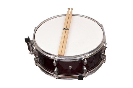 chrome base: snare drum isolated on white background Stock Photo