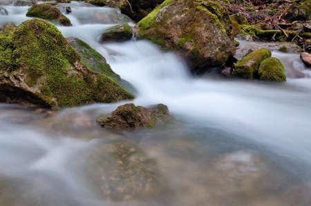 flows mountain yard Stock Photo