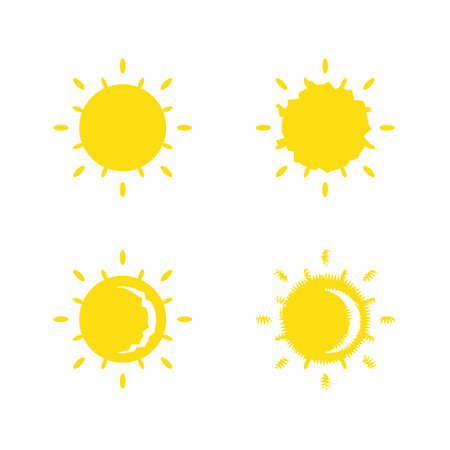 Yellow suns icon set, painted solar symbols vector illustration on white background  イラスト・ベクター素材