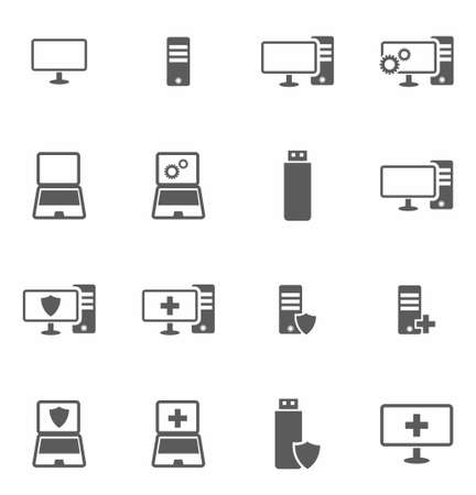 Computer repair icon set in flat style on white background vector illustration