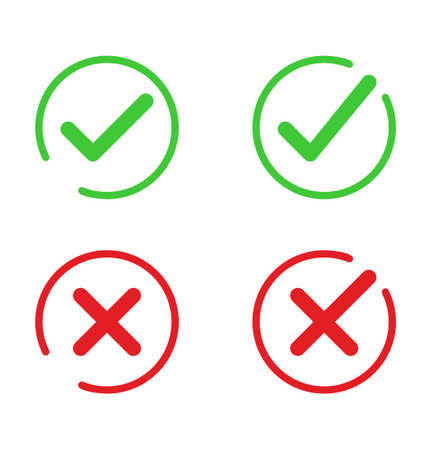 Check mark or check box icon set in flat style on white background vector illustration