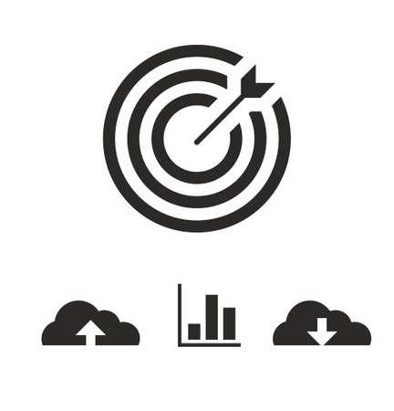 Marketing target icon set in flat style on white background vector illustration Vektorgrafik