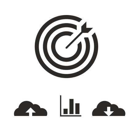 Marketing target icon set in flat style on white background vector illustration Vektoros illusztráció