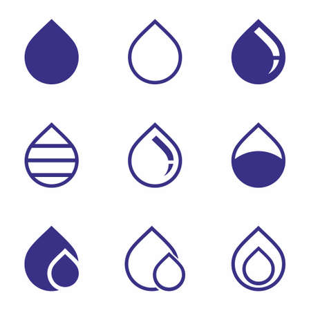 Water drop Icon set on white background vector illustration