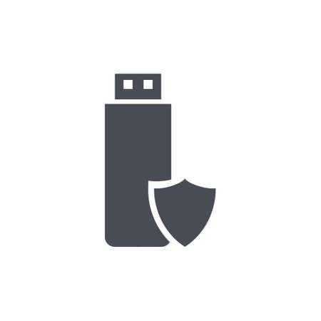 USB Flash Drive Icon on white background vector illustration 向量圖像