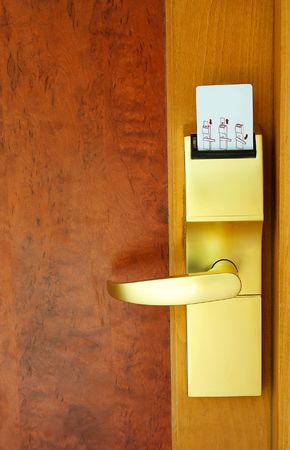 cardkey: Door with security card at the resort in exotic country. Stock Photo