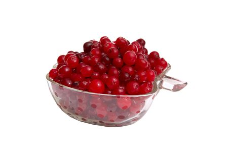 Fresh red cranberries isolated on a white background.