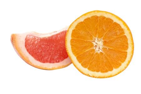 sweet segments: Wonderful segments of orange and grapefruit isolated on a white background.